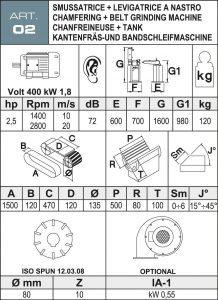 Bandschleif- und Kantenfräsmaschine Daten