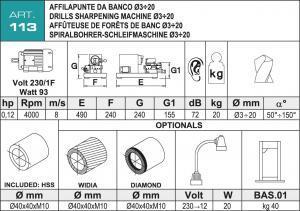 Spiralbohrerschleifmaschine Daten