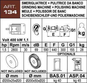 Scheibenschleif- und Poliermaschine Daten Ø200 mm