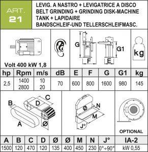 Band- und Tellerschleifmaschine Daten