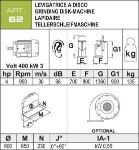 Tellerschleifmaschine Ø600 mm Daten