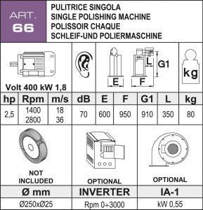 Schleif- und Poliermaschine Daten Ø250 mm
