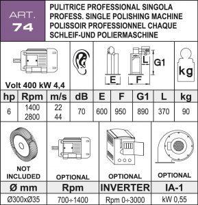 Schleif- und Poliermaschine Daten Ø300 mm