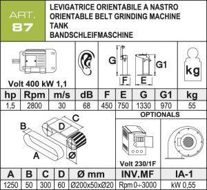 Bandschleifmaschine Daten 50 mm