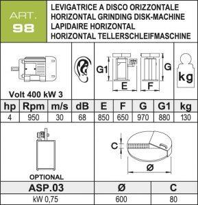 horizontale-Tellerschleifmaschine Daten Ø600 mm